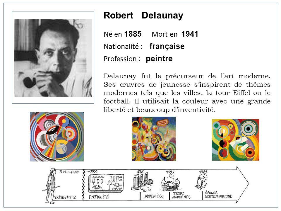 Robert Delaunay Né en 1885 Mort en 1941 Nationalité : française Profession : peintre Delaunay fut le précurseur de lart moderne. Ses œuvres de jeuness