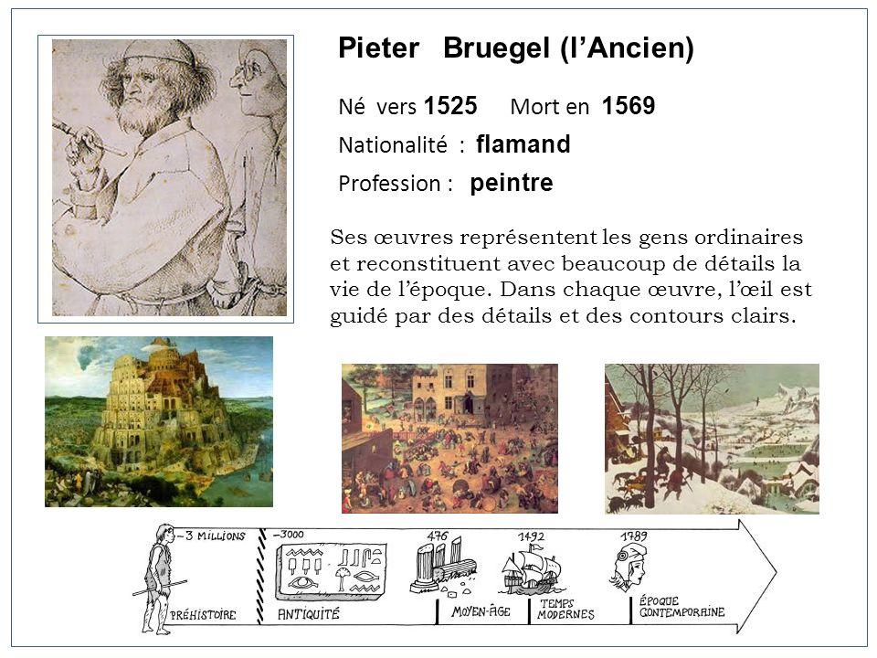 Pieter Bruegel (lAncien) Né vers 1525 Mort en 1569 Nationalité : flamand Profession : peintre Ses œuvres représentent les gens ordinaires et reconstit