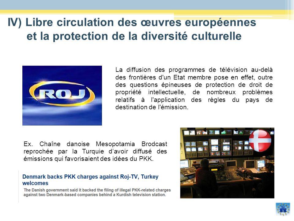 La diffusion des programmes de télévision au-delà des frontières d'un Etat membre pose en effet, outre des questions épineuses de protection de droit