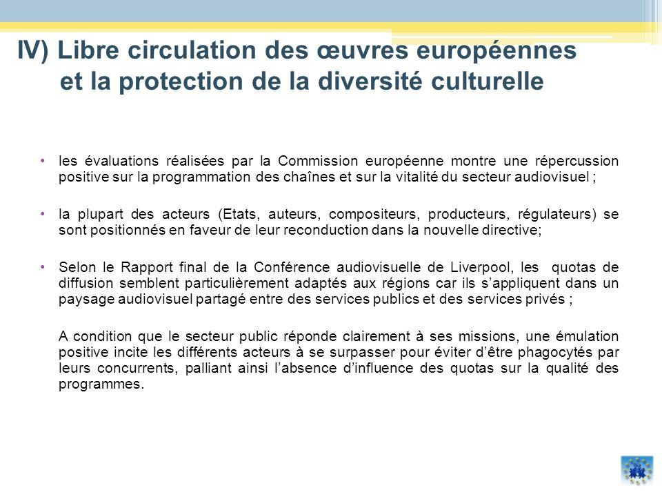 IV) Libre circulation des œuvres européennes et la protection de la diversité culturelle les évaluations réalisées par la Commission européenne montre