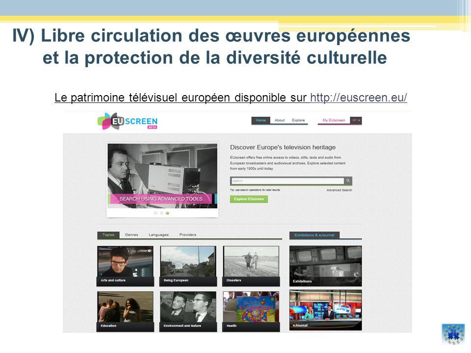 Le patrimoine télévisuel européen disponible sur http://euscreen.eu/http://euscreen.eu/ IV) Libre circulation des œuvres européennes et la protection