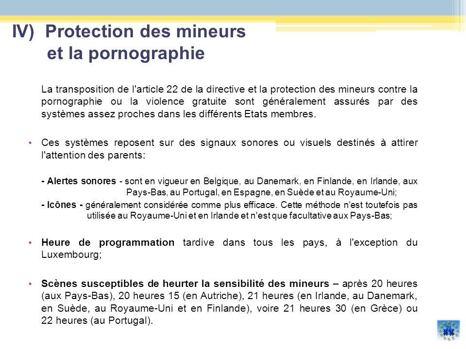 La transposition de l'article 22 de la directive et la protection des mineurs contre la pornographie ou la violence gratuite sont généralement assurés