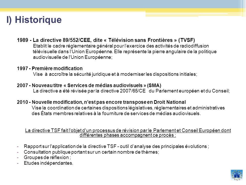 La directive TVSF (1989) vise à : - assurer la libre circulation des services de radiodiffusion au sein du marché intérieur - préservant certains objectifs importants d intérêt public : la diversité culturelle, le droit de réponse, la protection des consommateurs et la protection des mineurs.