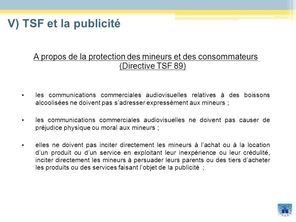 A propos de la protection des mineurs et des consommateurs (Directive TSF 89) les communications commerciales audiovisuelles relatives à des boissons