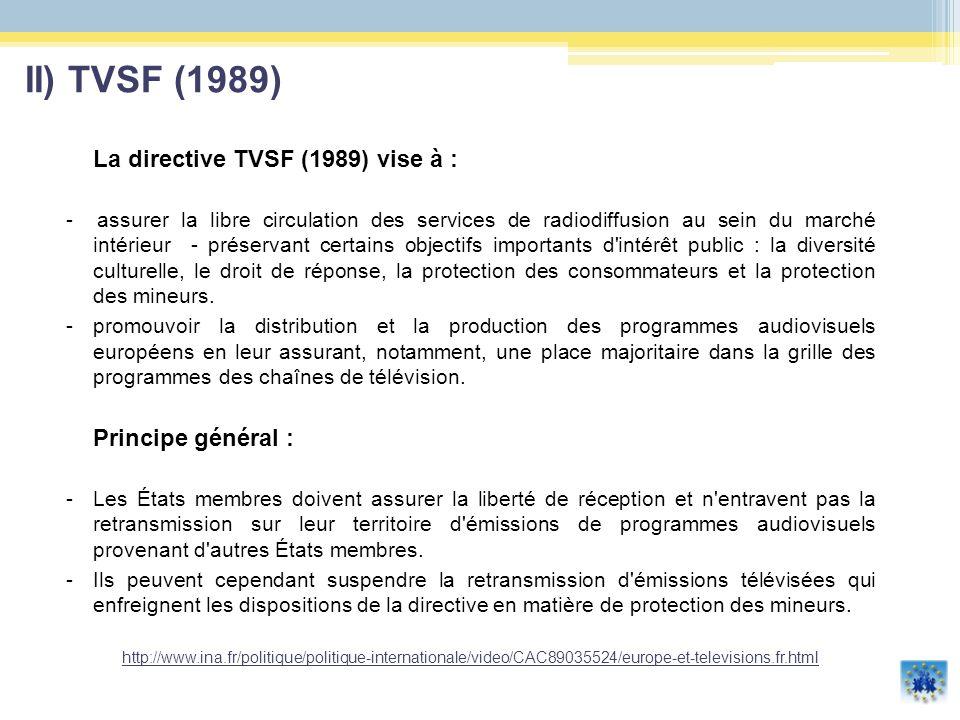 Les obligations des Etats Membres : les diffuseurs doivent, en principe, réserver la majorité du temps de diffusion à des programmes européens, avec un quota de 10% pour les programmes issus de producteurs indépendants ; doivent communiquer, tous les deux ans, un rapport comportant notamment un relevé statistique de la réalisation de la directive TSF.