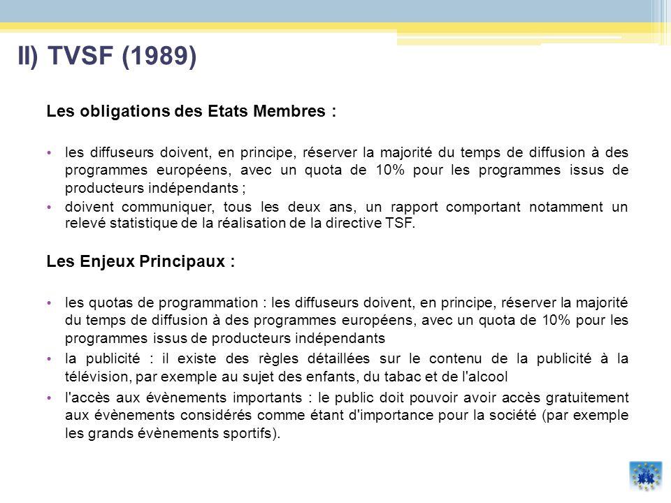 Les obligations des Etats Membres : les diffuseurs doivent, en principe, réserver la majorité du temps de diffusion à des programmes européens, avec u