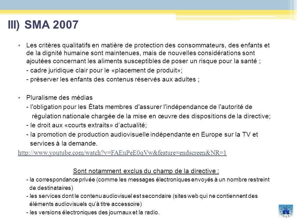 IV) Libre circulation des œuvres européennes et la protection de la diversité culturelle la volonté européenne est de se constituer une identité propre, notamment à travers les médias, tout en respectant les cultures qui la composent ; idée de développer le secteur des entreprises audiovisuelles et la production indépendante européenne.