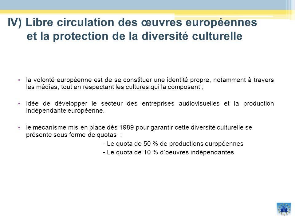 Les 4 663 chaînes européennes sont répertoriées dans la base de données MAVISE : 381 chaînes terrestres nationales (avec une licence nationale analogique et/ou numérique) ; 2 473 chaînes nationales accessibles via le câble, le satellite ou lIPTV (656 de ces chaînes sont établies dans un pays et ciblent un ou plusieurs autres pays) ; 1 809 chaînes régionales et locales (incluant fenêtres) IV) Libre circulation des œuvres européennes et la protection de la diversité culturelle