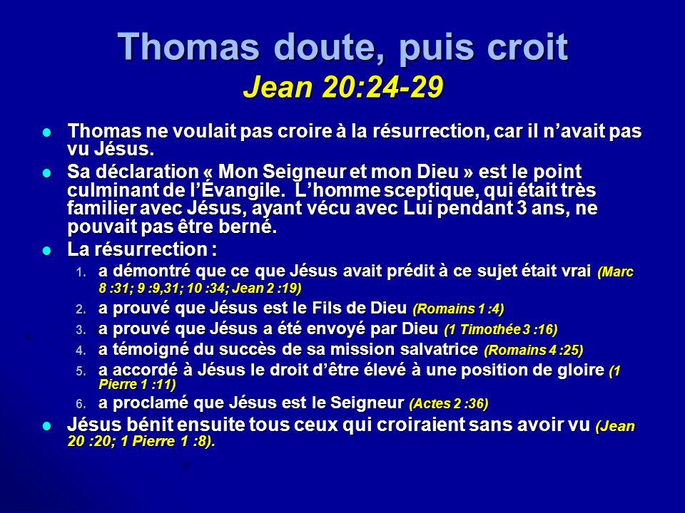 Thomas doute, puis croit Jean 20:24-29 Thomas ne voulait pas croire à la résurrection, car il navait pas vu Jésus. Thomas ne voulait pas croire à la r