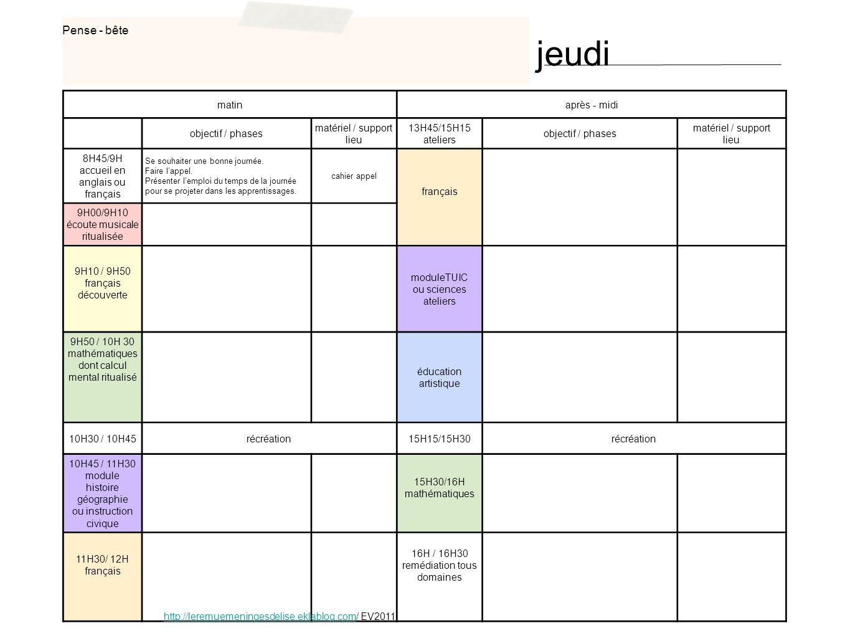 matinaprès - midi objectif / phases matériel / support lieu 13H45/15H15 ateliers objectif / phases matériel / support lieu 8H45/9H accueil en anglais ou français Se souhaiter une bonne journée.