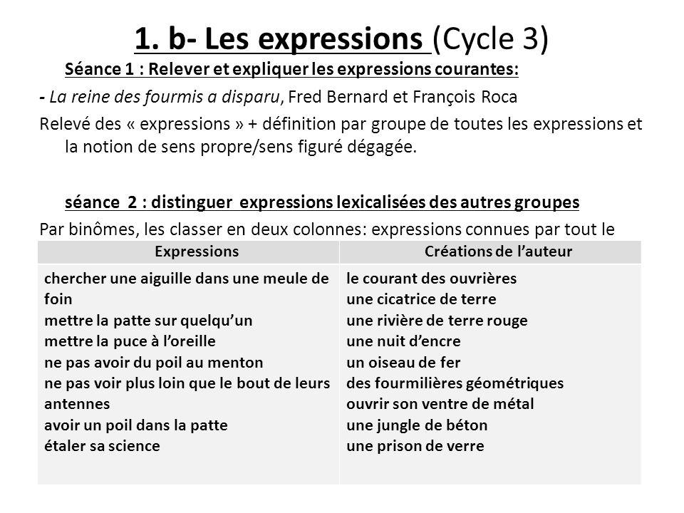1. b- Les expressions (Cycle 3) Séance 1 : Relever et expliquer les expressions courantes: - La reine des fourmis a disparu, Fred Bernard et François