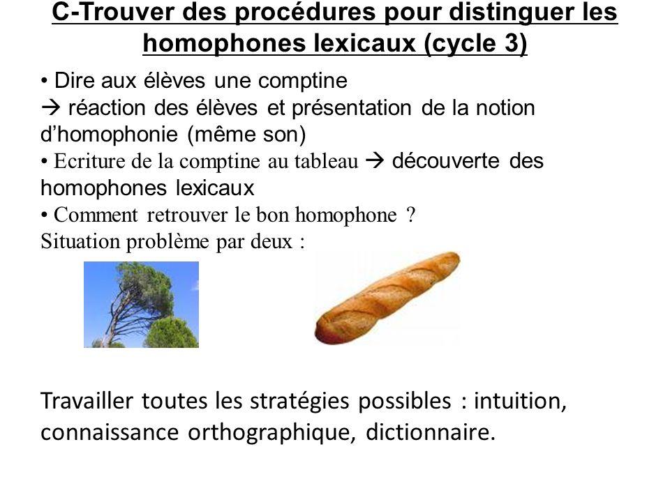 C-Trouver des procédures pour distinguer les homophones lexicaux (cycle 3) Dire aux élèves une comptine réaction des élèves et présentation de la noti