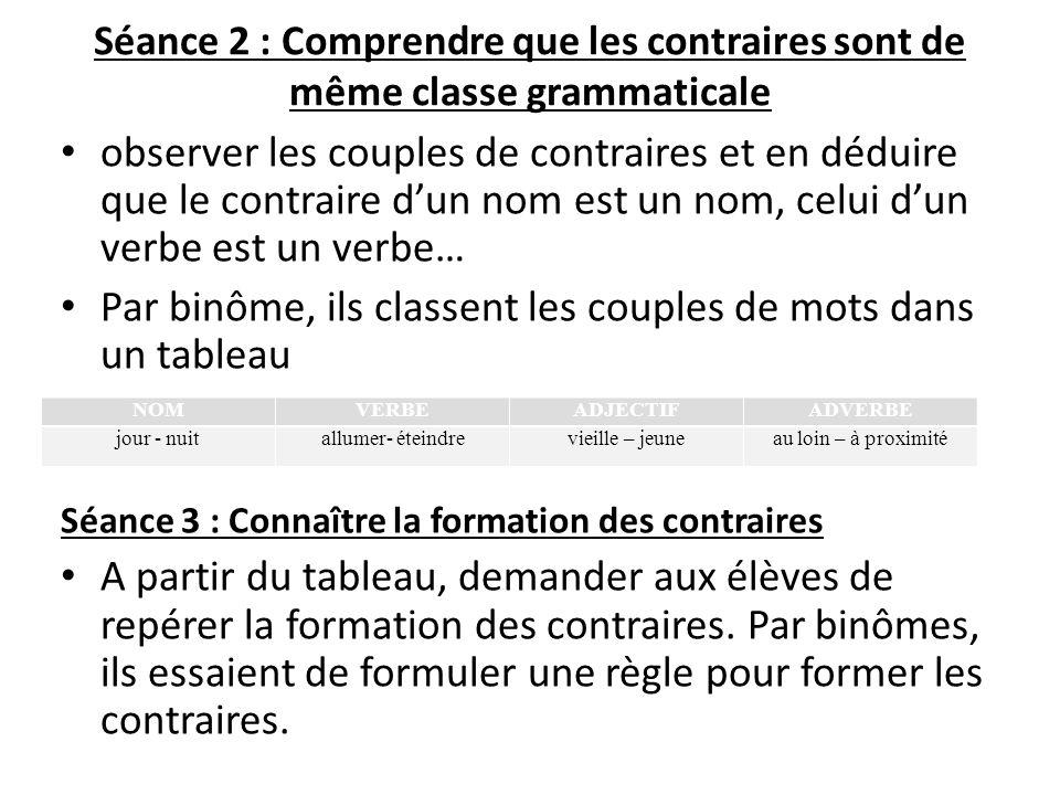 Séance 2 : Comprendre que les contraires sont de même classe grammaticale observer les couples de contraires et en déduire que le contraire dun nom es