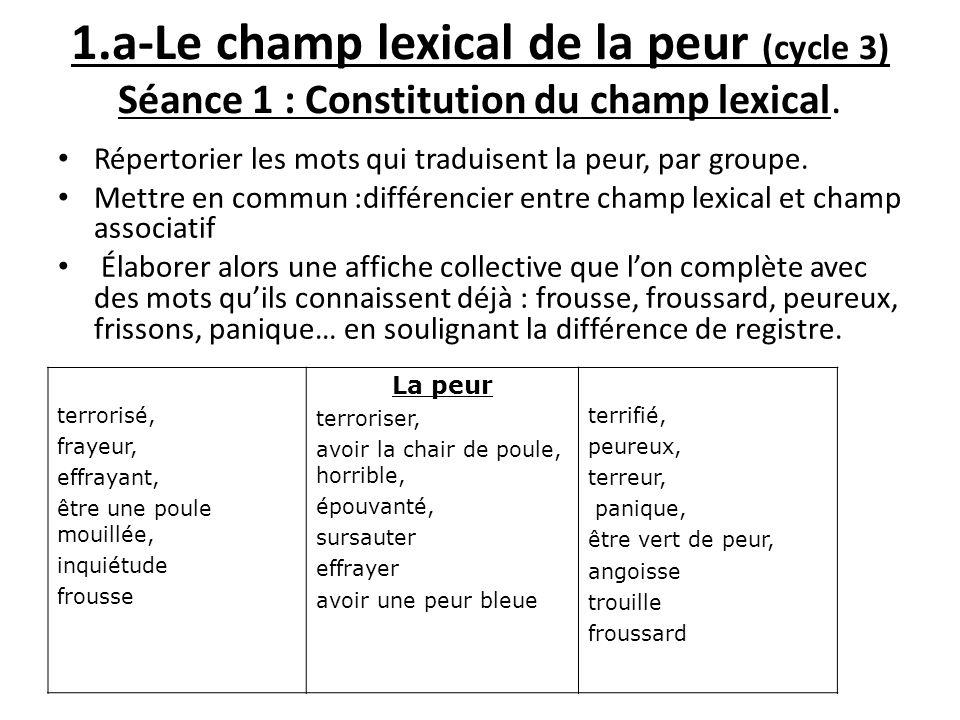 1.a-Le champ lexical de la peur (cycle 3) Séance 1 : Constitution du champ lexical. Répertorier les mots qui traduisent la peur, par groupe. Mettre en