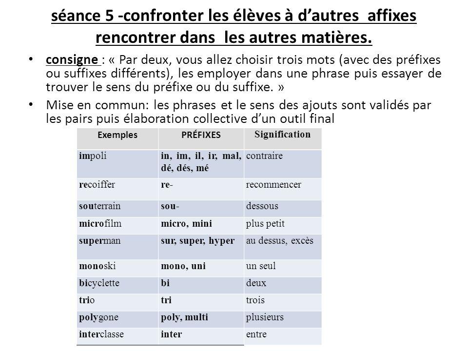 séance 5 -confronter les élèves à dautres affixes rencontrer dans les autres matières. consigne : « Par deux, vous allez choisir trois mots (avec des