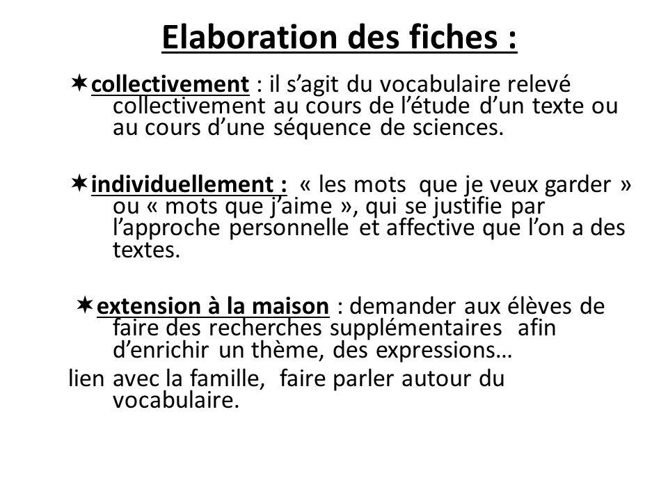 Elaboration des fiches : collectivement : il sagit du vocabulaire relevé collectivement au cours de létude dun texte ou au cours dune séquence de scie