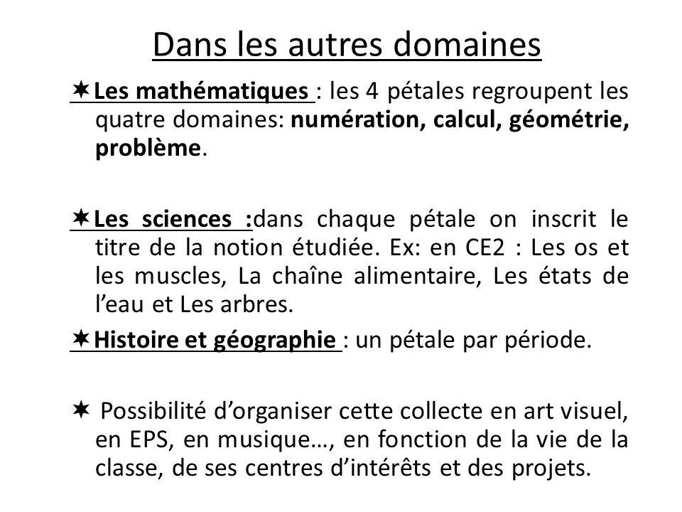 Dans les autres domaines Les mathématiques : les 4 pétales regroupent les quatre domaines: numération, calcul, géométrie, problème. Les sciences :dans