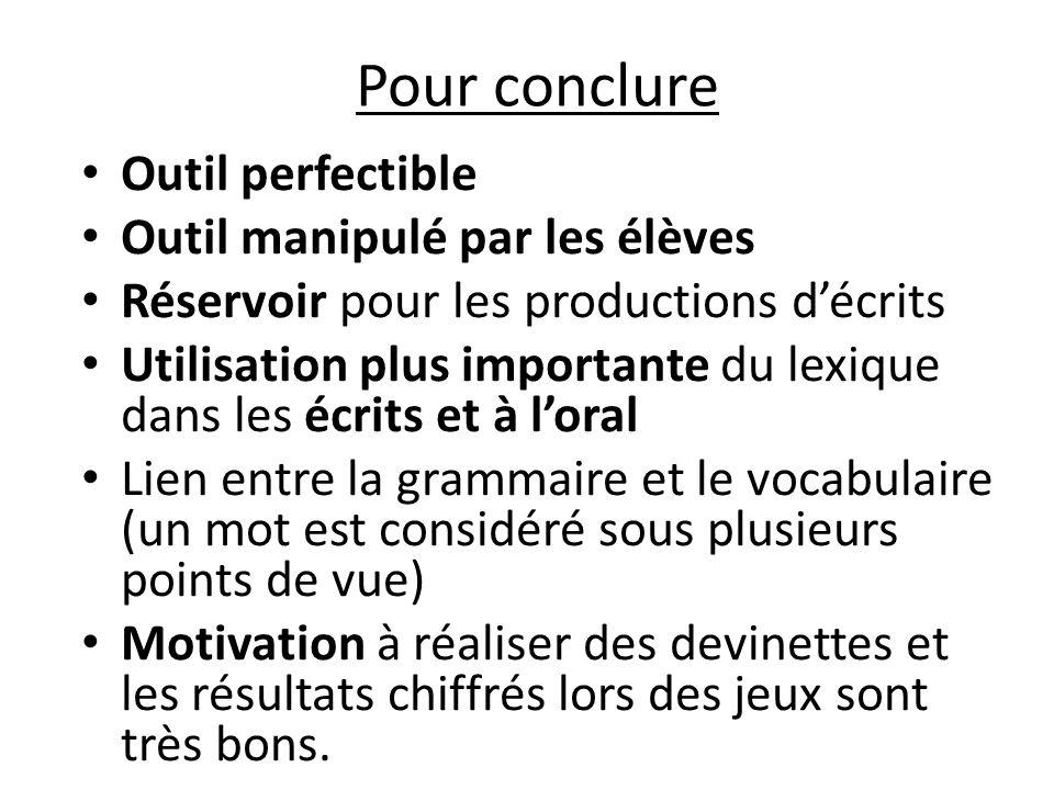 Pour conclure Outil perfectible Outil manipulé par les élèves Réservoir pour les productions décrits Utilisation plus importante du lexique dans les é