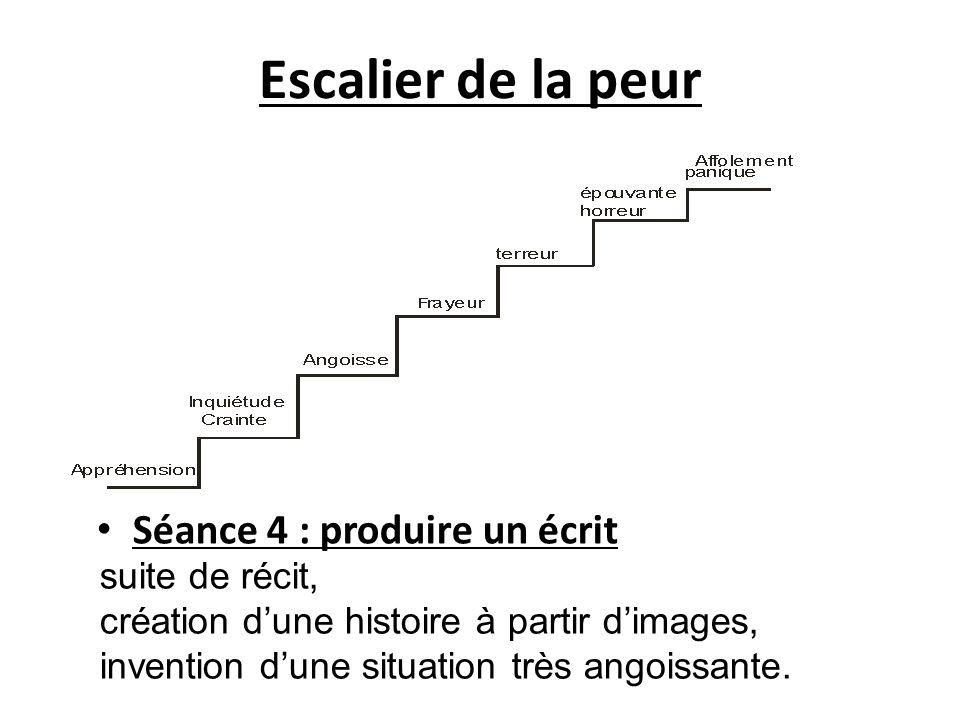 Escalier de la peur Séance 4 : produire un écrit suite de récit, création dune histoire à partir dimages, invention dune situation très angoissante.