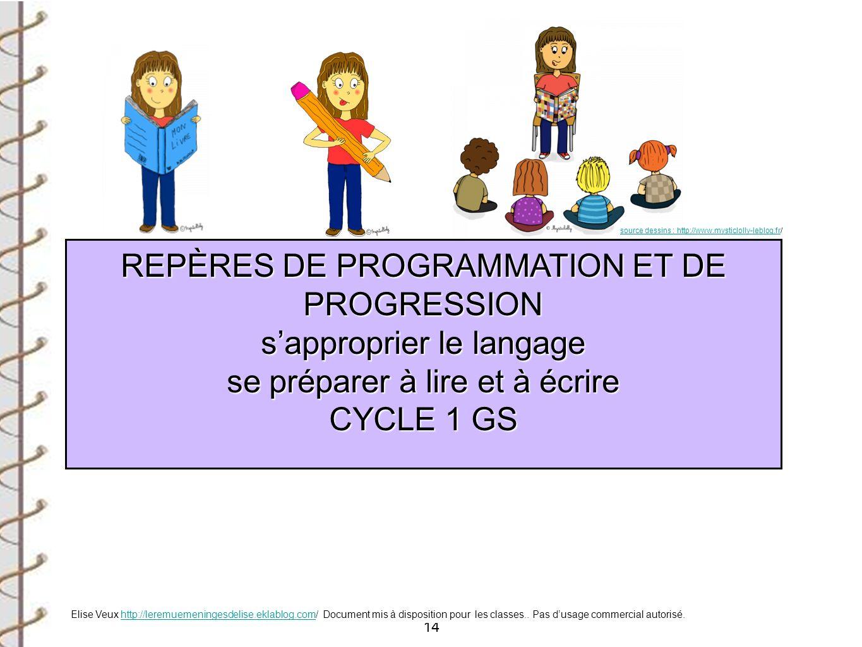 14 REPÈRES DE PROGRAMMATION ET DE PROGRESSION REPÈRES DE PROGRAMMATION ET DE PROGRESSION sapproprier le langage sapproprier le langage se préparer à l