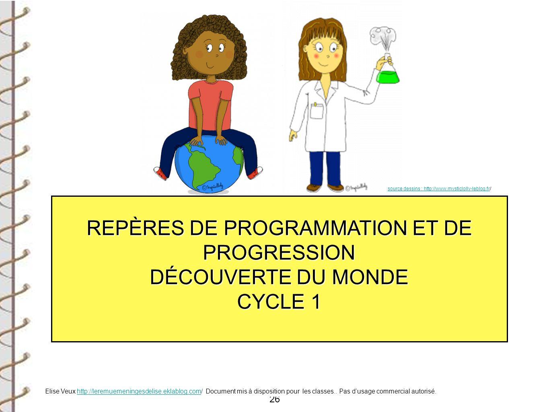 26 REPÈRES DE PROGRAMMATION ET DE PROGRESSION DÉCOUVERTE DU MONDE CYCLE 1 source dessins : http://www.mysticlolly-leblog.frsource dessins : http://www