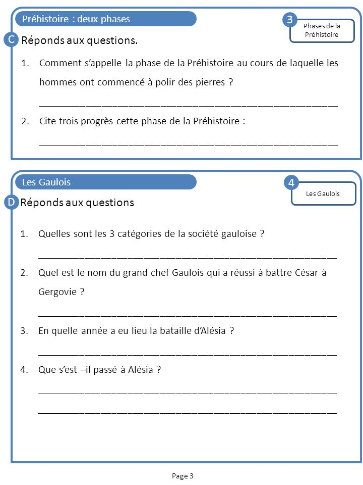 Page 3 Préhistoire : deux phases C Réponds aux questions. 1.Comment sappelle la phase de la Préhistoire au cours de laquelle les hommes ont commencé à