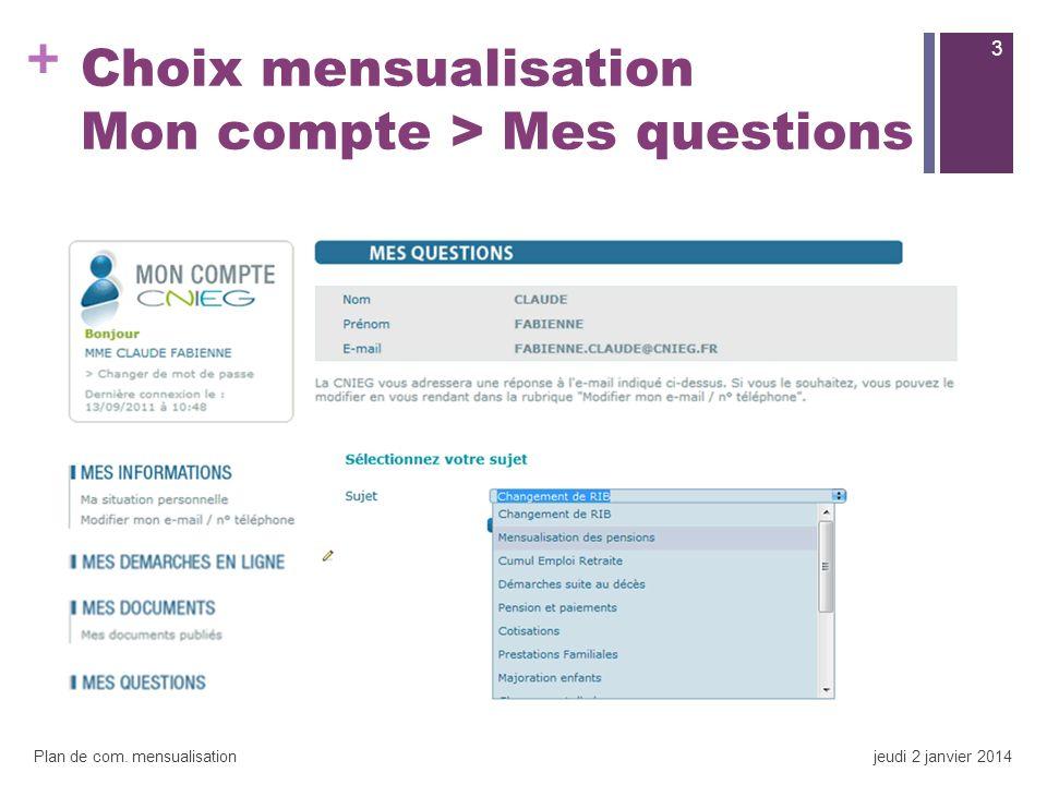 + Choix mensualisation Mon compte > Mes questions 3 Plan de com. mensualisationjeudi 2 janvier 2014