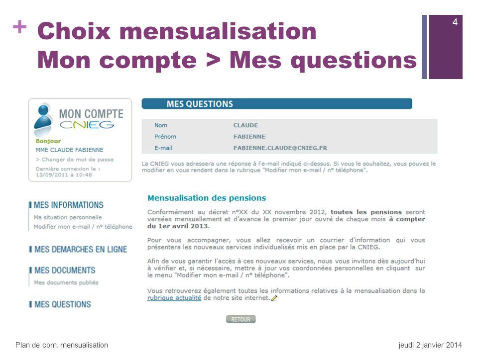 + Choix mensualisation Mon compte > Mes questions 4 Plan de com. mensualisationjeudi 2 janvier 2014