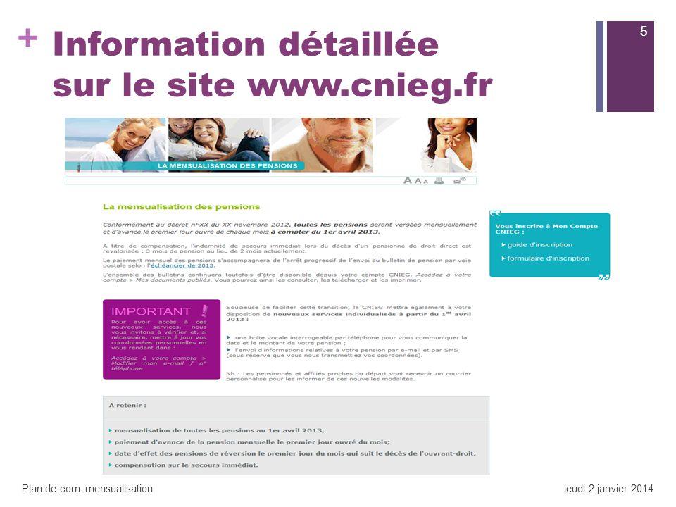 + Information détaillée sur le site www.cnieg.fr 5 Plan de com. mensualisationjeudi 2 janvier 2014