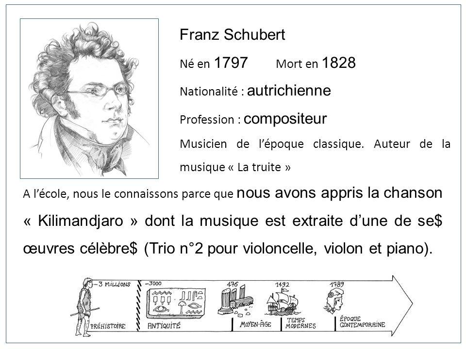 Franz Schubert Né en 1797 Mort en 1828 Nationalité : autrichienne Profession : compositeur Musicien de lépoque classique. Auteur de la musique « La tr
