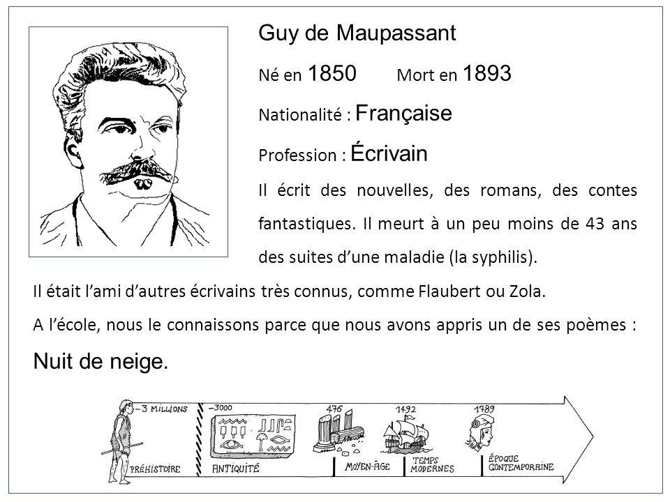 Guy de Maupassant Né en 1850 Mort en 1893 Nationalité : Française Profession : Écrivain Il écrit des nouvelles, des romans, des contes fantastiques. I