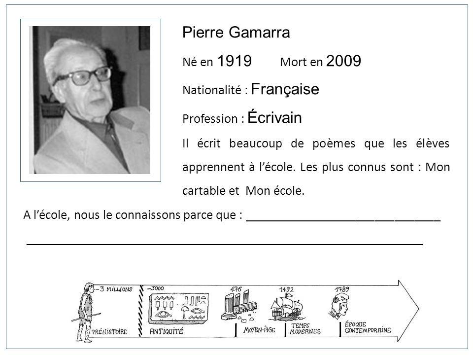 Pierre Gamarra Né en 1919 Mort en 2009 Nationalité : Française Profession : Écrivain Il écrit beaucoup de poèmes que les élèves apprennent à lécole. L