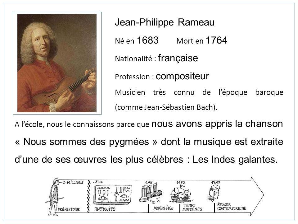 Jean-Philippe Rameau Né en 1683 Mort en 1764 Nationalité : française Profession : compositeur Musicien très connu de lépoque baroque (comme Jean-Sébas