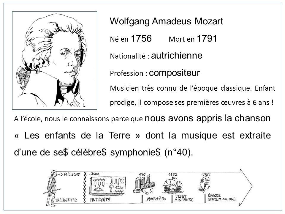 Wolfgang Amadeus Mozart Né en 1756 Mort en 1791 Nationalité : autrichienne Profession : compositeur Musicien très connu de lépoque classique. Enfant p