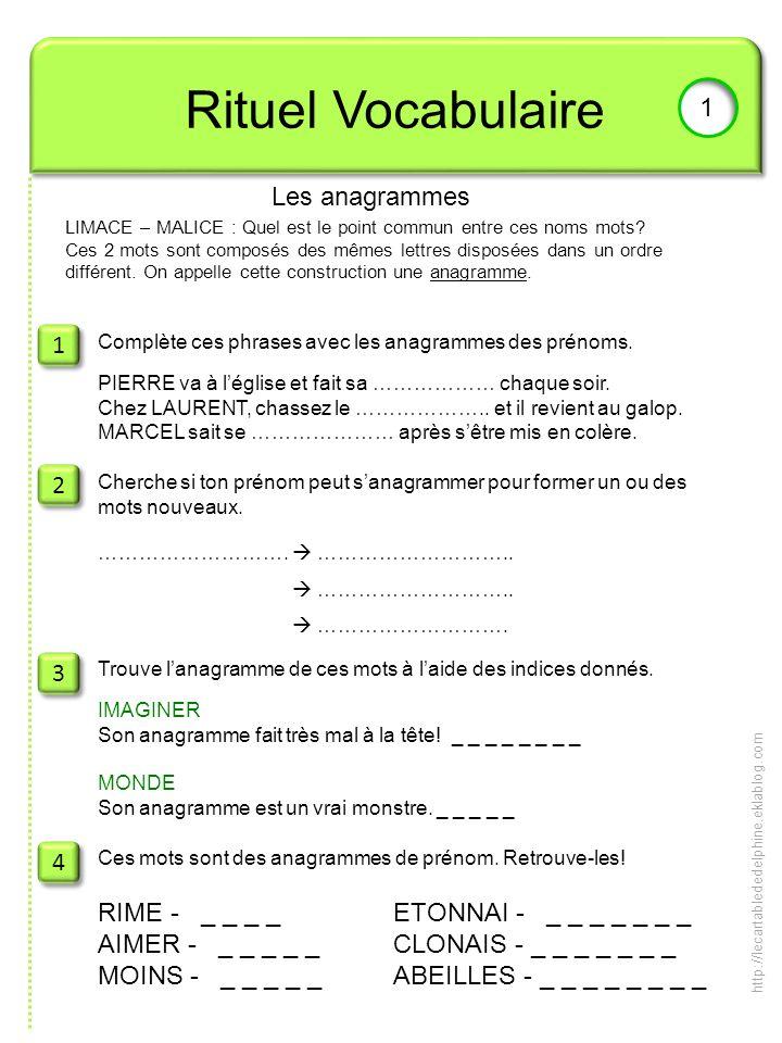 1 Rituel Vocabulaire 1 Les anagrammes LIMACE – MALICE : Quel est le point commun entre ces noms mots? Ces 2 mots sont composés des mêmes lettres dispo