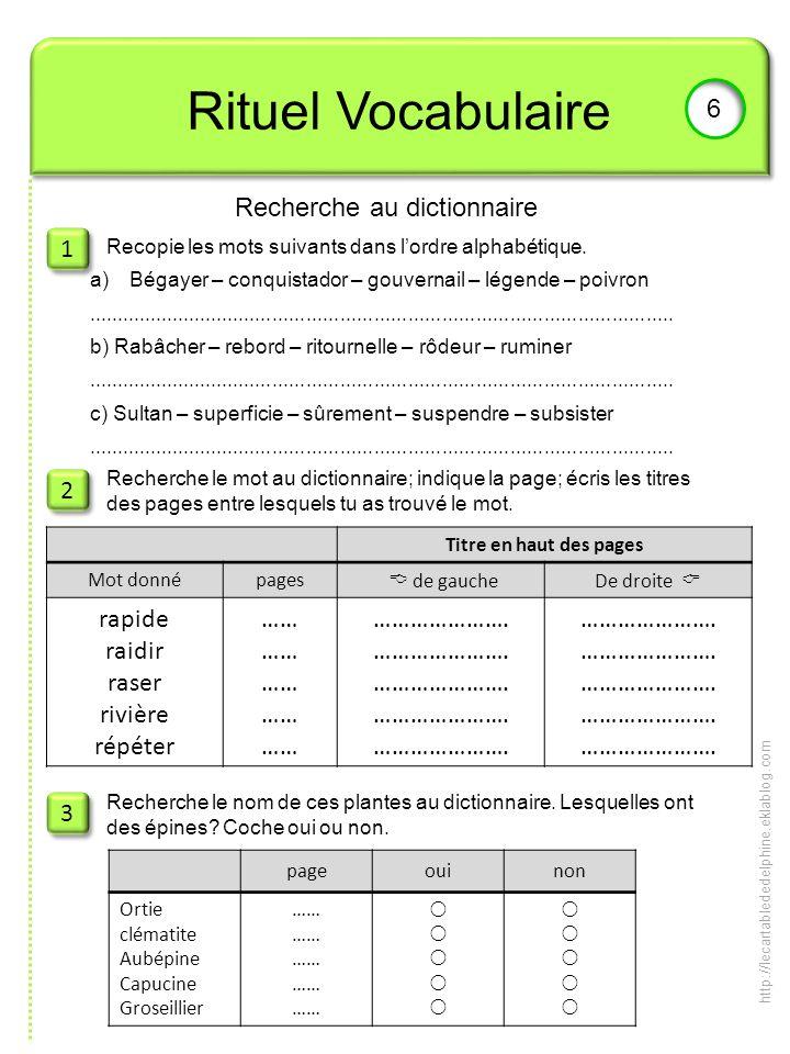 Rituel Vocabulaire 6 Recherche au dictionnaire 1 1 2 2 3 3 Recopie les mots suivants dans lordre alphabétique. Recherche le mot au dictionnaire; indiq
