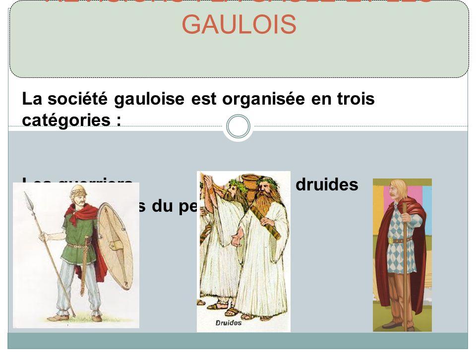 RÉVISIONS : LA GAULE ET LES GAULOIS La société gauloise est organisée en trois catégories : Les guerriers Les druides Les gens du peuple