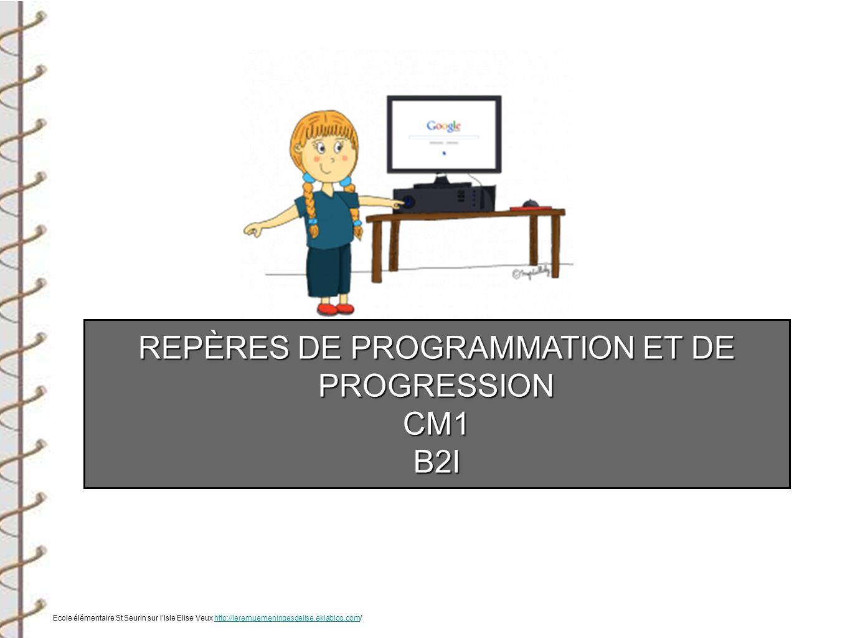 REPÈRES DE PROGRAMMATION ET DE PROGRESSION CM1B2I Ecole élémentaire St Seurin sur lIsle Elise Veux http://leremuemeningesdelise.eklablog.com/http://le