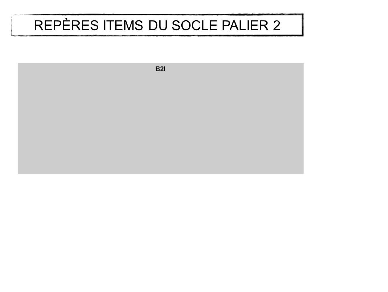 B2I REPÈRES ITEMS DU SOCLE PALIER 2