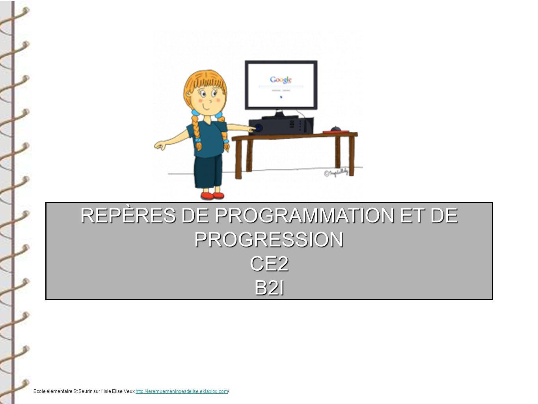 REPÈRES DE PROGRAMMATION ET DE PROGRESSION CE2B2I Ecole élémentaire St Seurin sur lIsle Elise Veux http://leremuemeningesdelise.eklablog.com/http://le