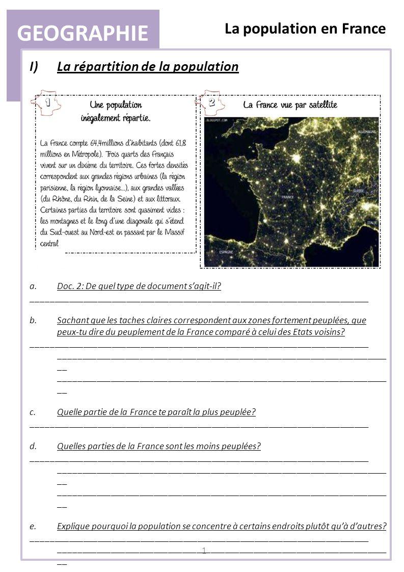 GEOGRAPHIE La population en France 2