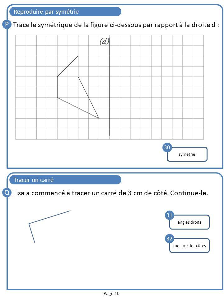 Page 10 Reproduire par symétrie P Trace le symétrique de la figure ci-dessous par rapport à la droite d : symétrie 30 Tracer un carré Q Lisa a commenc