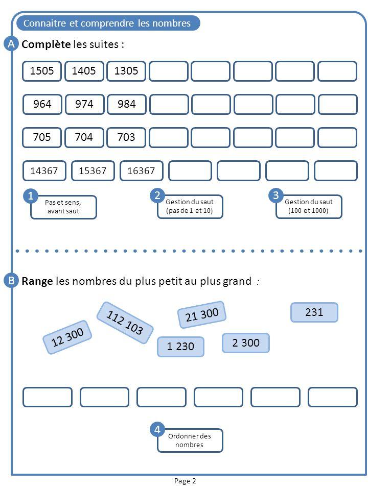 Connaitre et comprendre les nombres Page 2 Pas et sens, avant saut 1 Gestion du saut (pas de 1 et 10) 2 3 A Complète les suites : 70570470396497498415