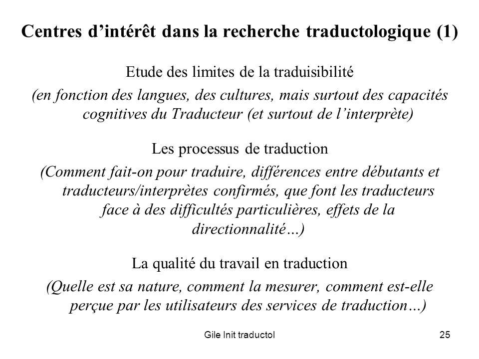 Gile Init traductol25 Centres dintérêt dans la recherche traductologique (1) Etude des limites de la traduisibilité (en fonction des langues, des cult