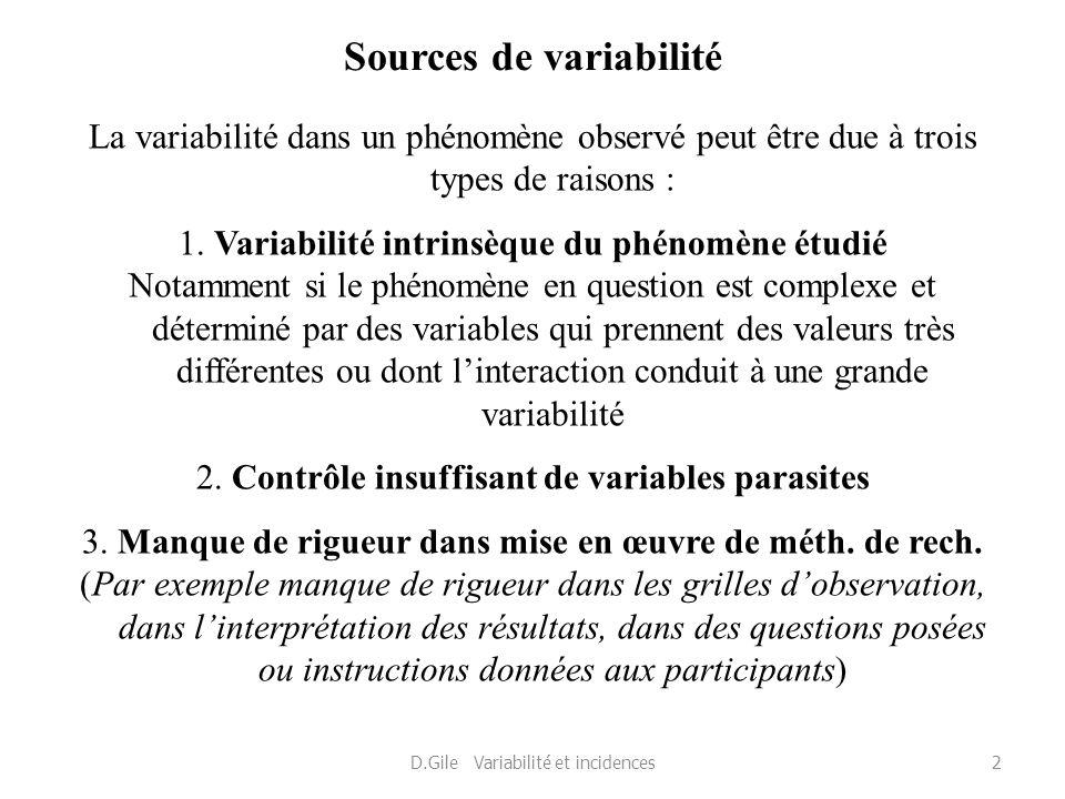Sources de variabilité La variabilité dans un phénomène observé peut être due à trois types de raisons : 1. Variabilité intrinsèque du phénomène étudi