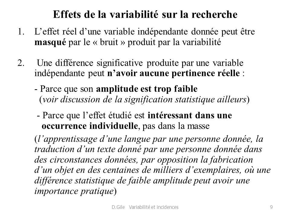 Effets de la variabilité sur la recherche 1.Leffet réel dune variable indépendante donnée peut être masqué par le « bruit » produit par la variabilité