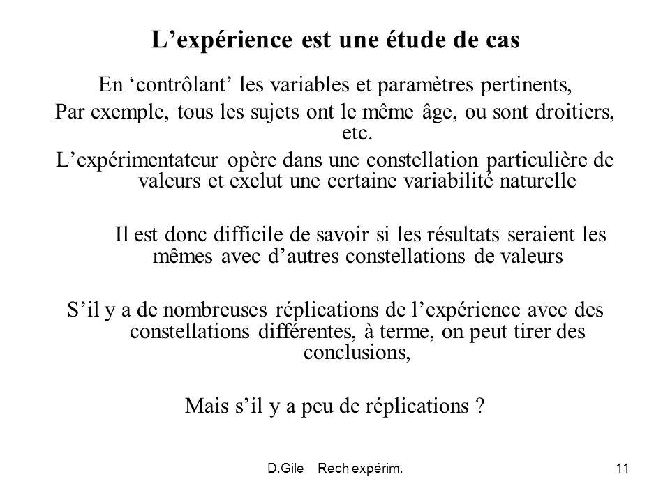 D.Gile Rech expérim.11 Lexpérience est une étude de cas En contrôlant les variables et paramètres pertinents, Par exemple, tous les sujets ont le même