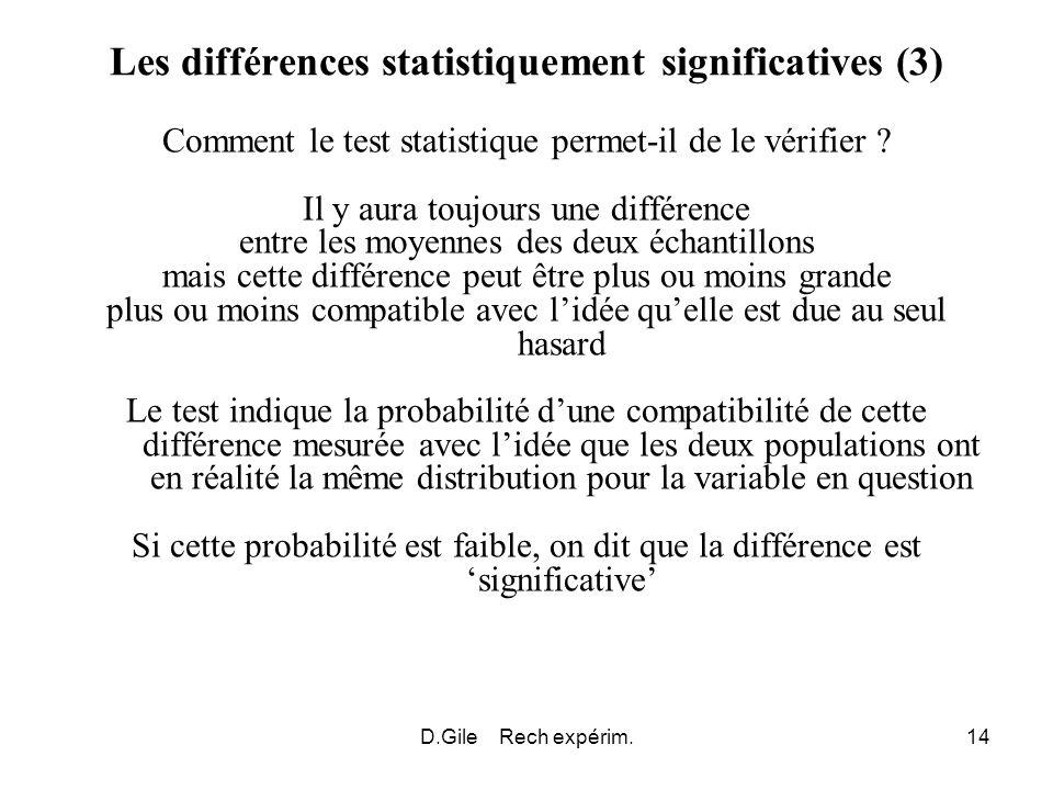 D.Gile Rech expérim.14 Les différences statistiquement significatives (3) Comment le test statistique permet-il de le vérifier ? Il y aura toujours un