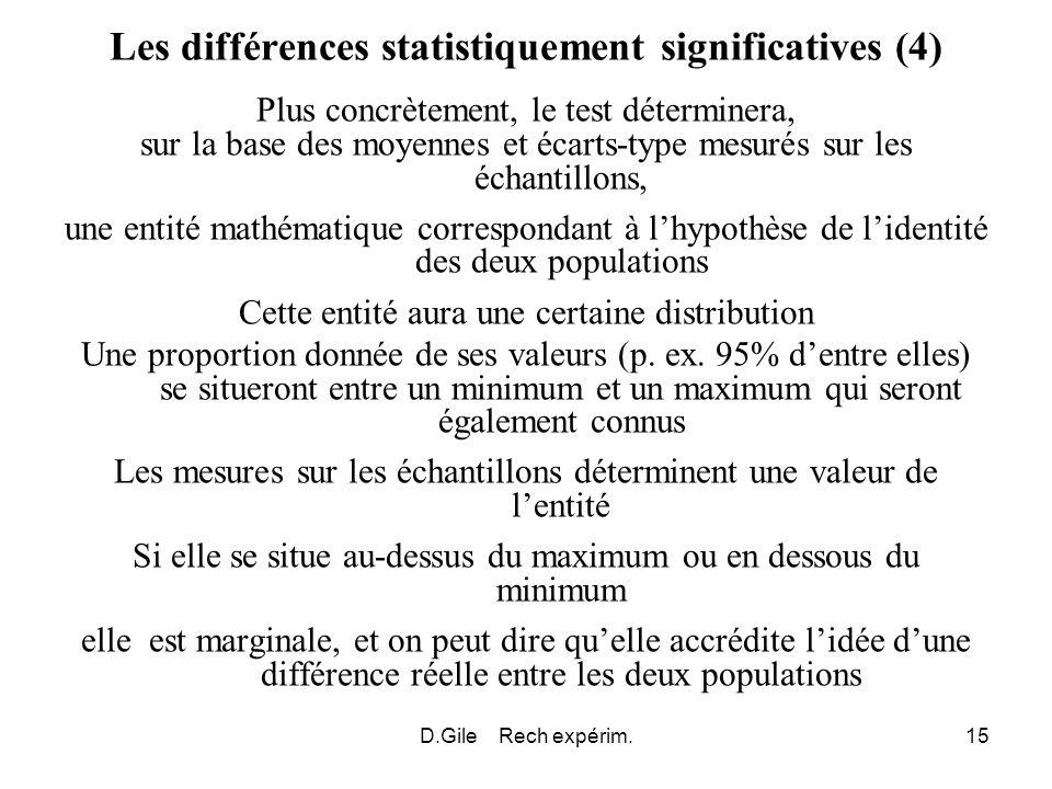 D.Gile Rech expérim.15 Les différences statistiquement significatives (4) Plus concrètement, le test déterminera, sur la base des moyennes et écarts-t