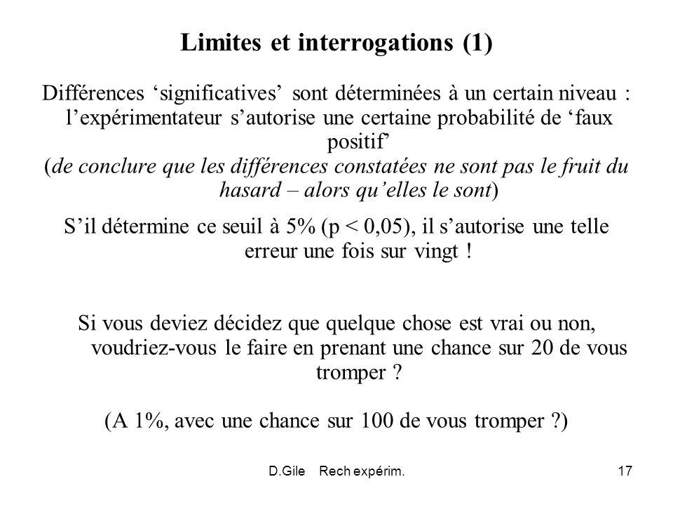 D.Gile Rech expérim.17 Limites et interrogations (1) Différences significatives sont déterminées à un certain niveau : lexpérimentateur sautorise une